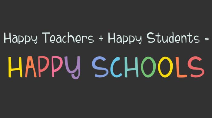 Colorful text happy teachers, happy students, happy schools